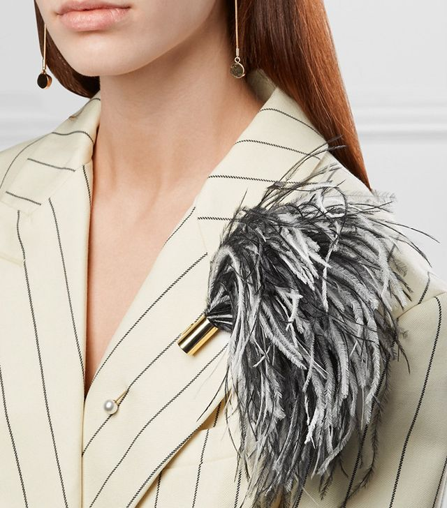 Hillier Bartley Gold-tone, Feather and Swarovski Faux Pearl Brooch