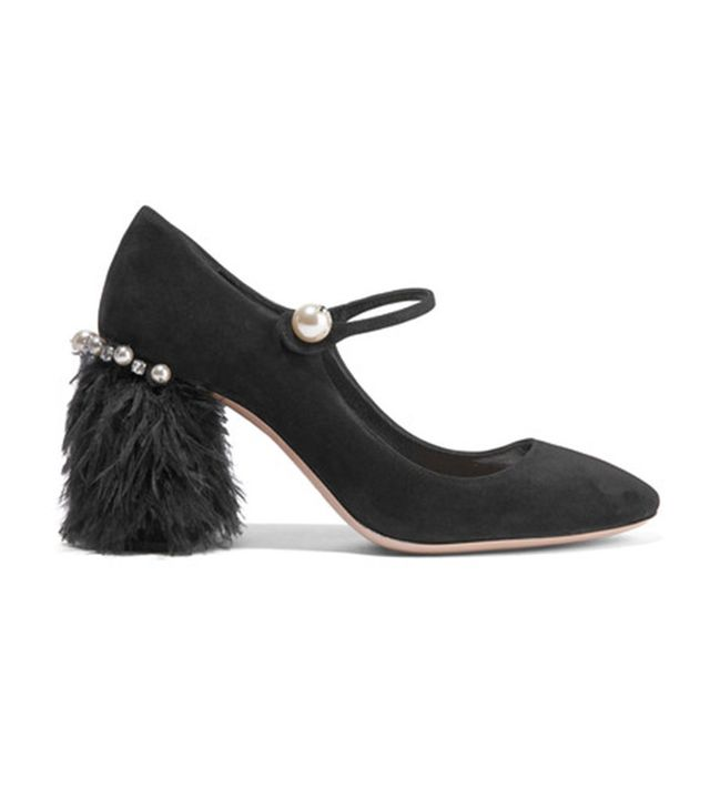 Miu Miu Feather-trimmed Embellished Suede Mary Jane Pumps