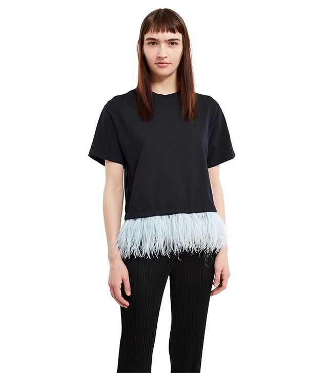 Opening Ceremony Cropped Feather Trim Tee