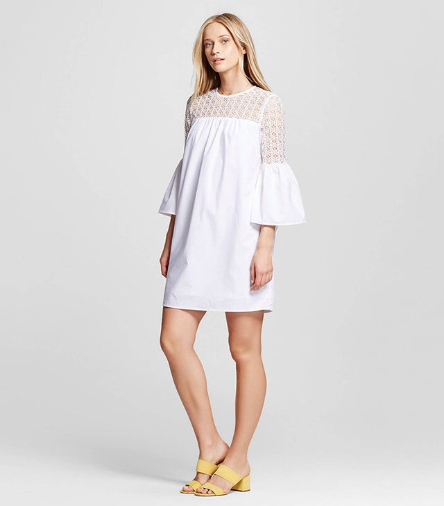 Who What Wear Collection Eyelet Mix Mini Dress