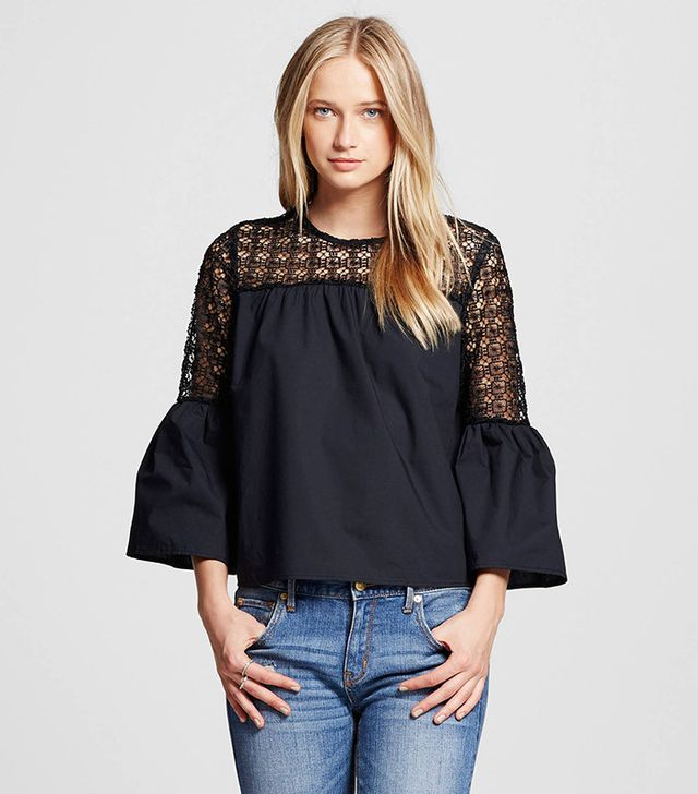 Who What Wear Collection Eyelet Trim Bell Sleeve Top