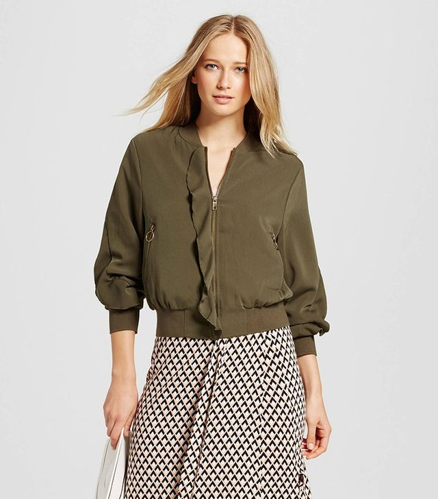 Who What Wear Collection Ruffle Bomber Jacket