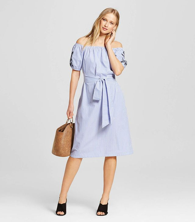 Who What Wear Collection Embroidered Belted Bardot Dress