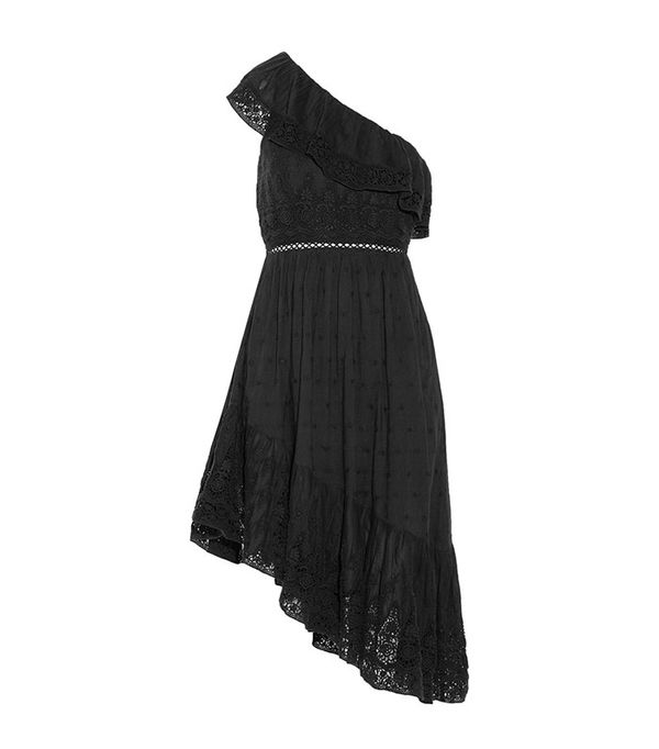 best black asymmetrical dress- LoveShackFancy pamela dress