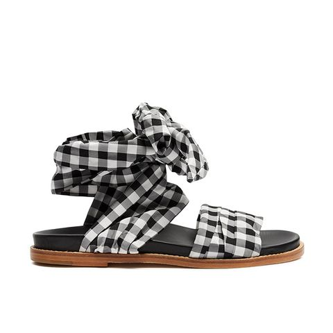 Wraparound Gingham Sandals