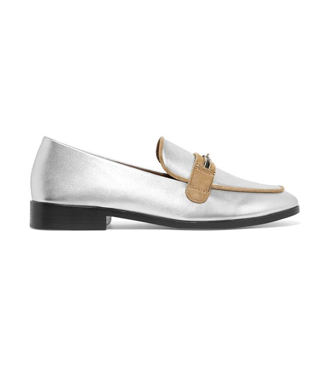 Newbark Melanie Suede-Trimmed Metallic Leather Loafers