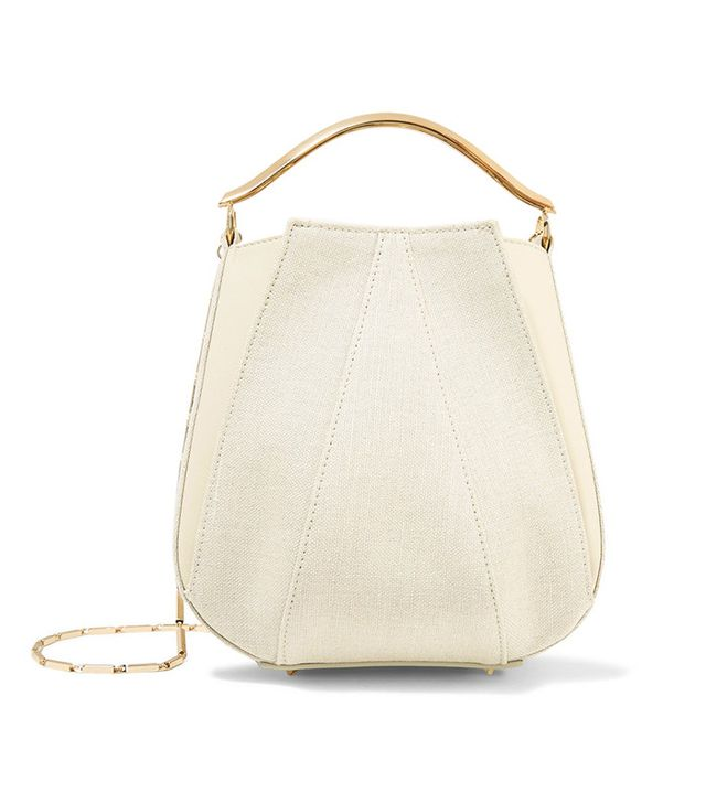 Eddie Borgo Pepper Mini Paneled Canvas and Leather Shoulder Bag