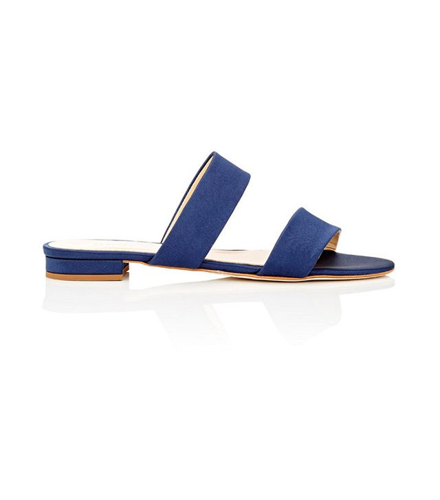 Barneys New York Satin Double-Band Slide Sandals
