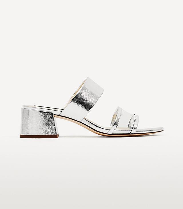 Zara Silver-Toned Mid Heel Sandals