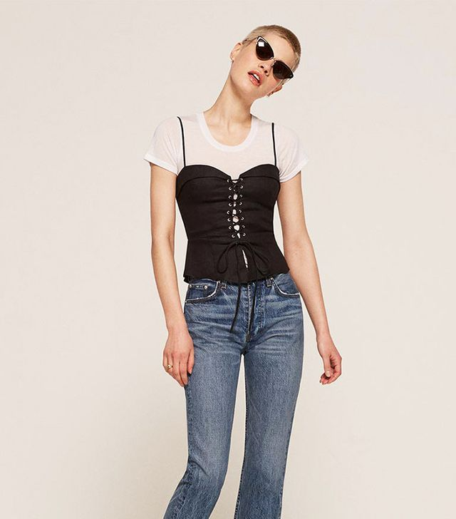 best going out top- Reformation Clayten Top in Black