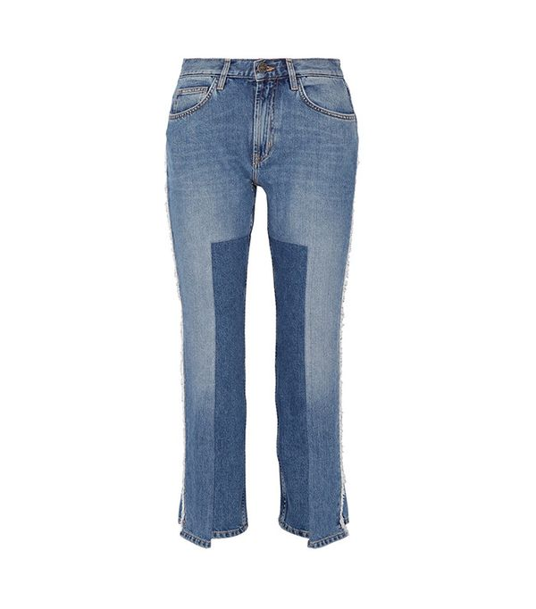 best two-tone jeans - M.i.h Jeans Jeanne Cropped Frayed Straight-Leg Jeans