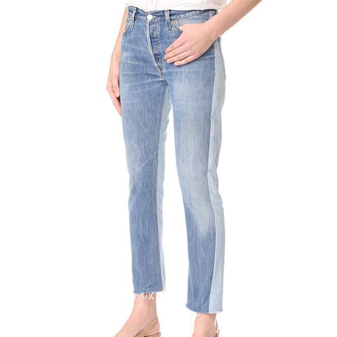Relaxed Two Tone Crop Jeans