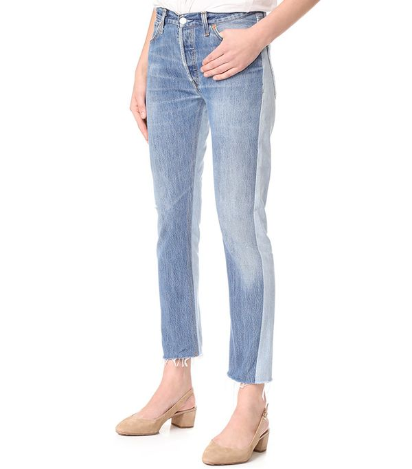 best two-tone jeans - Re/Done | Levi's Relaxed Two Tone Crop Jeans