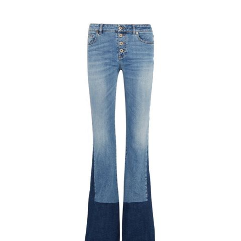Two-Tone Mid-Rise Bootcut Jeans