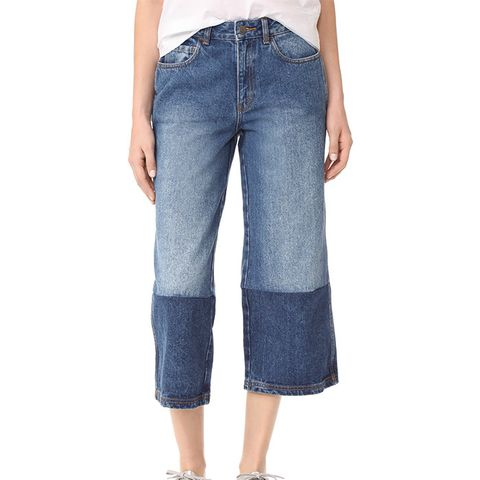 Two Tone Denim Gaucho Pants
