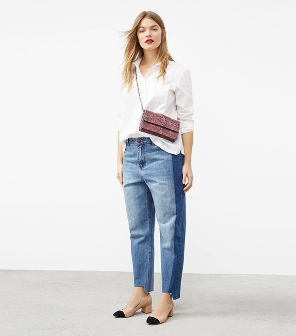 best two-tone jeans - Violeta Mango Mom Tux Jeans