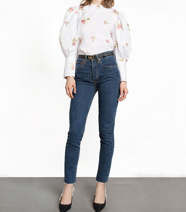 summer fashion trends - Pixie Market Floral Embroidered Puffy Sleeve Shirt