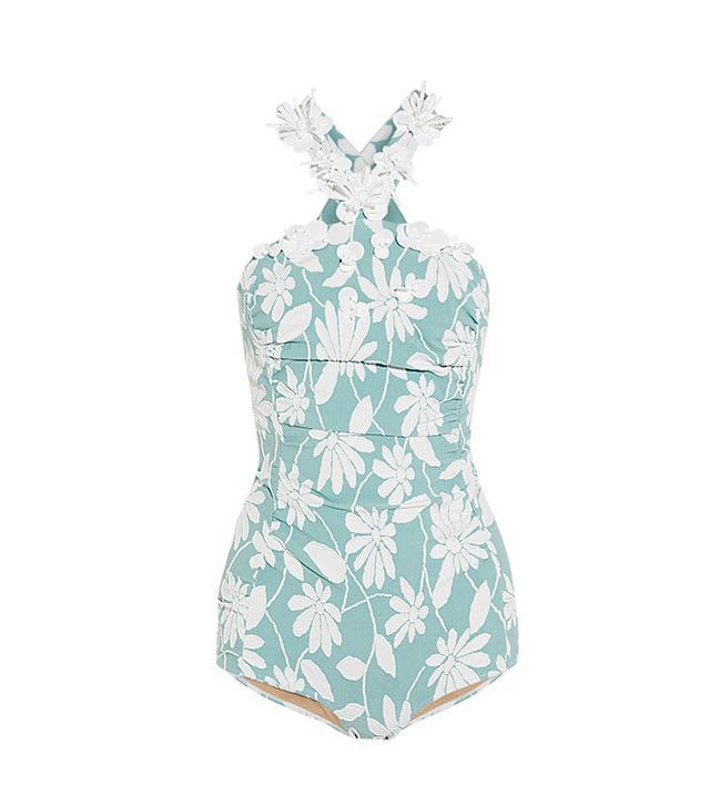 summer fashion trends - Miu Miu Embellished Floral-Jacquard Bodysuit