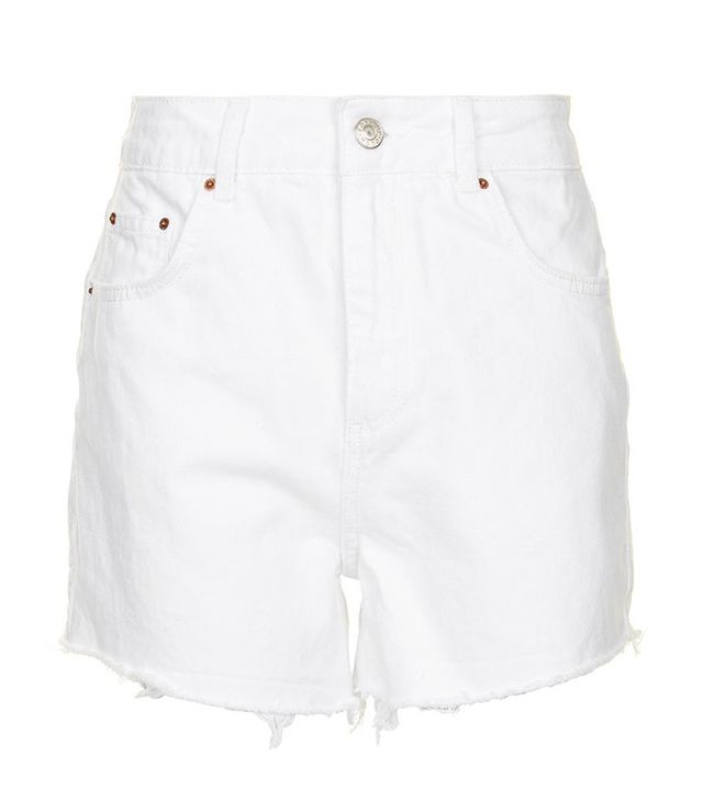 best affordable white shorts- Topshop Moto High Waisted White Mom Shorts