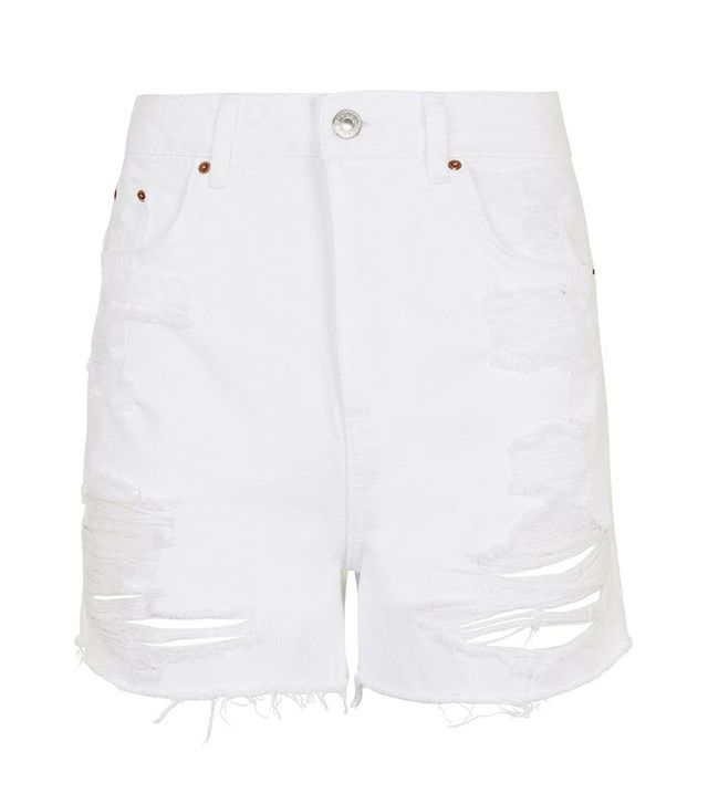best ripped white shorts- Topshop Moto Highwaisted Rip Mom Shorts