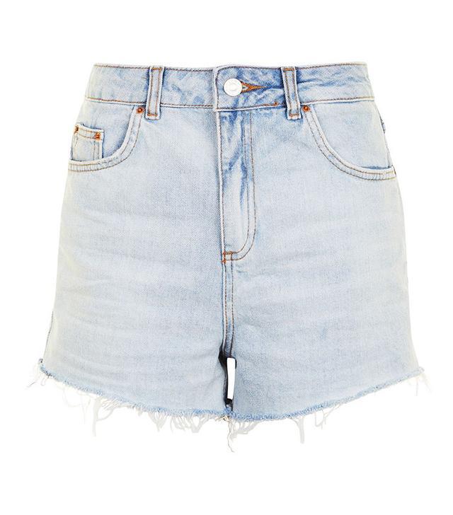 best light-wash denim shorts- Topshop Moto Highwaisted Mom Shorts in Bleach Denim