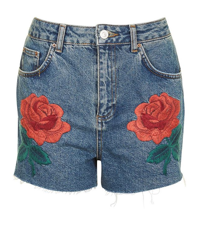 best embroidered shorts- Topshop Moto Rose Embroidered Shorts