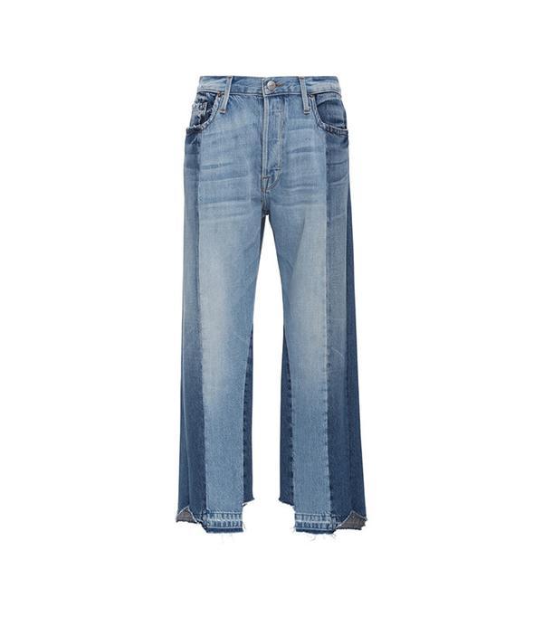 best two-tone jeans - Frame Denim Nouveau High Rise Fit Le Mix Jeans