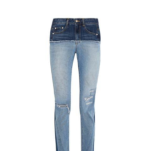 Two-Tone Distressed High-Rise Slim-Leg Jeans