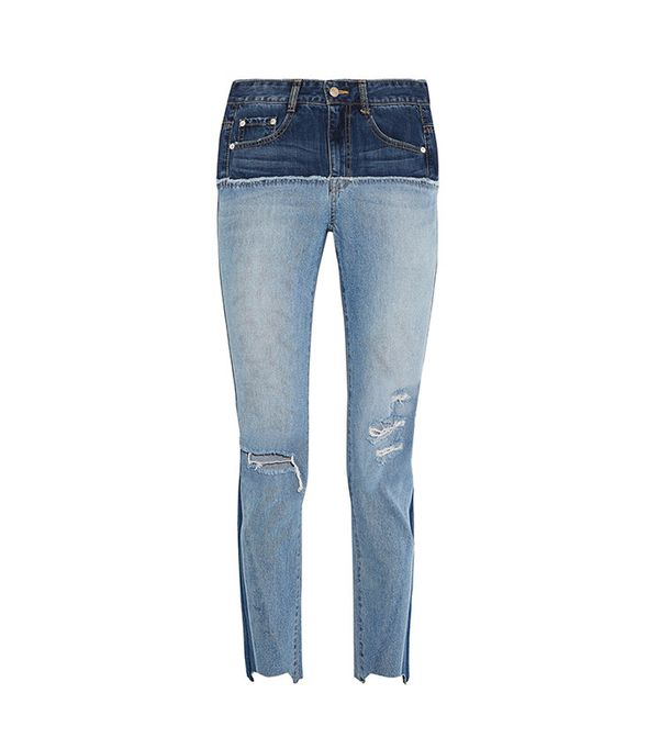 best two-tone jeans - SJYP Steve J & Yoni P Two-Tone Distressed High-Rise Slim-Leg Jeans