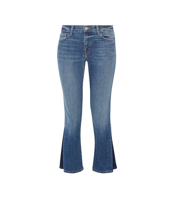 best two-tone jeans - J Brand Selena Cropped Mid-Rise Bootcut Jeans