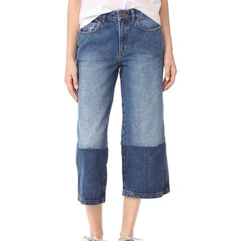 Two Tone Denim Gaucho Pants