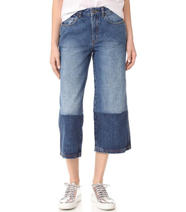 best two-tone jeans - Robert Rodriguez Two Tone Denim Gaucho Pants