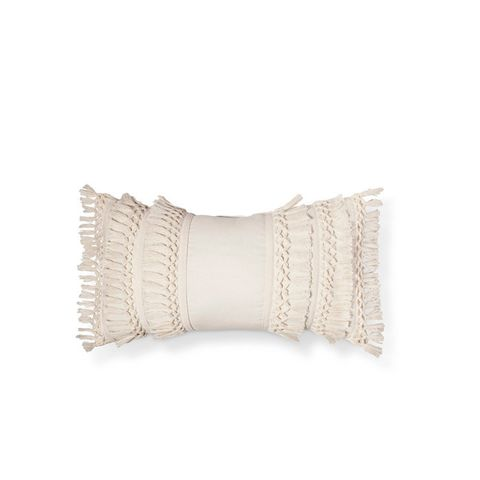 Cream Solid Throw Pillow