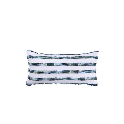 White and Blue Striped Lumbar Pillow