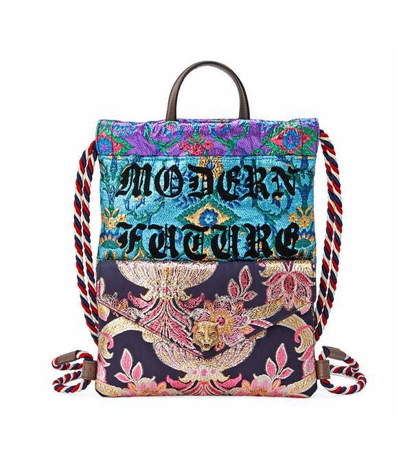 gucci brocade drawstring backpack