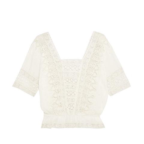 Jane Crochet-Trimmed Cotton Top