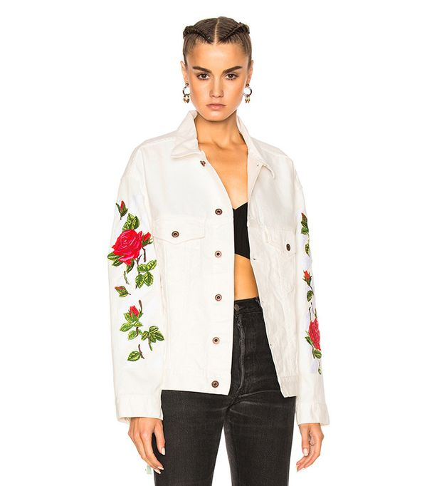 off white roses denim jacket