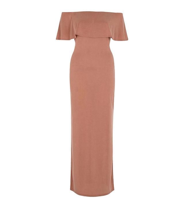 River Island Rust Frill Bardot Split-Skirt Maxi Dress