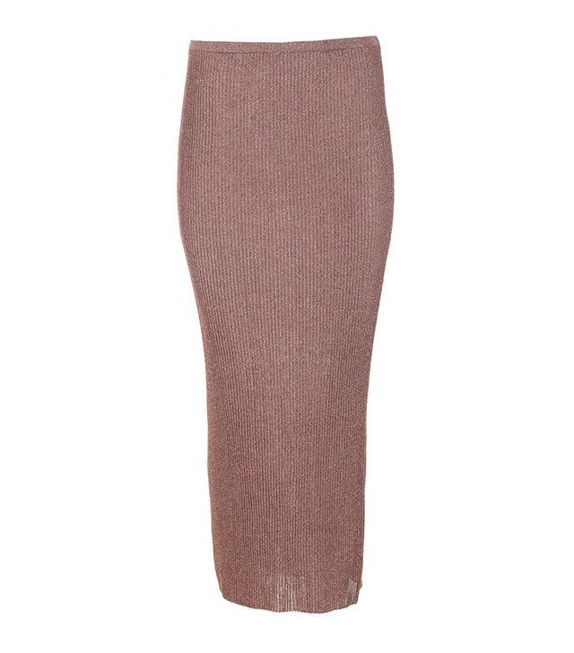 Tibi Metallic Ribbed Shift Skirt