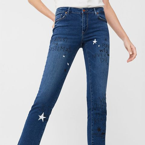 Cropped Straight Graffiti Jeans