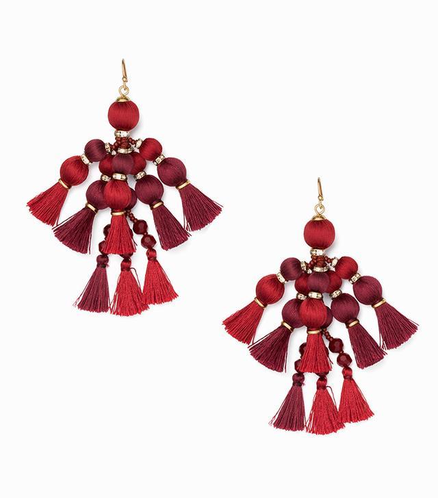 best statement earrings- Kate Spade Pretty Poms Tassel Statement Earrings