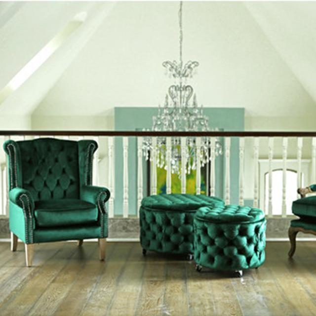 Black Mango Emerald & Oak Royale Wingback Arm Chair