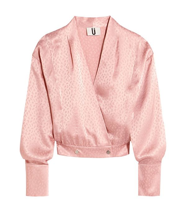cute tshirt outfits - Topshop Unique Silk Jacquard Wrap Blouse