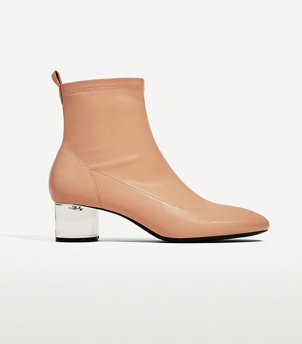cute tshirt outfits - Zara Ankle Boots With Methacrylate Heel