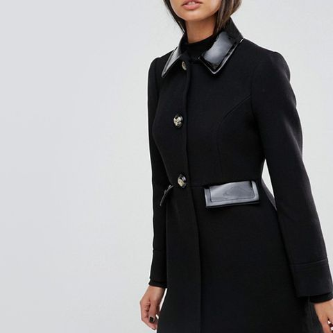 Skater Coat With Patent Contrast Trims
