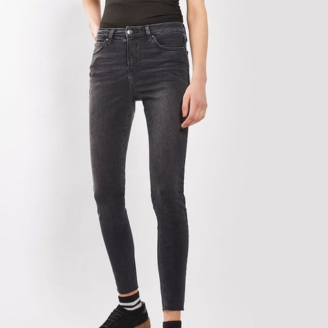 Moto Washed Black Raw Hem Jamie Jeans