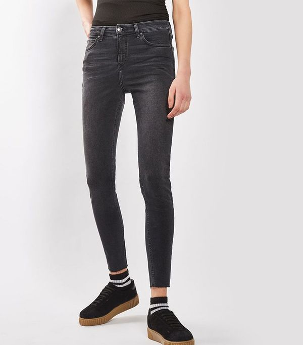 cute tshirt outfits - Topshop Moto Washed Black Raw Hem Jamie Jeans
