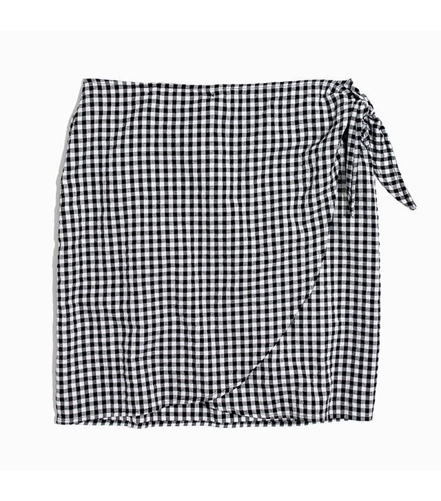 best affordable skirt- Madewell Gingham Side-Tie Skirt