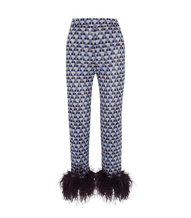 Prada Feather-trimmed Printed Crepe De Chine Straight-leg Pants