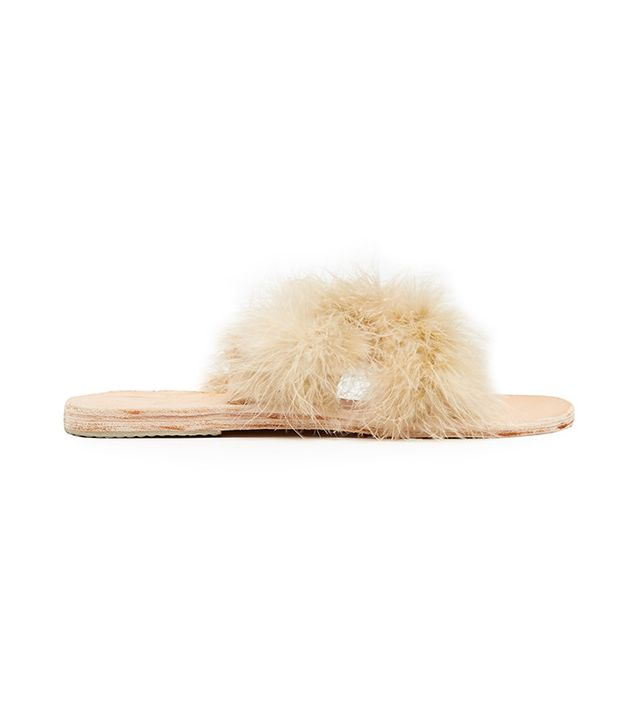 Brother Vellies Lamu Feather Crossover Slides